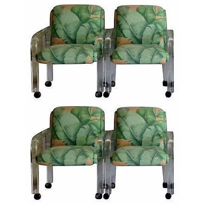 Image of 1970s Upholstered Lucite Armchairs - Set of 4