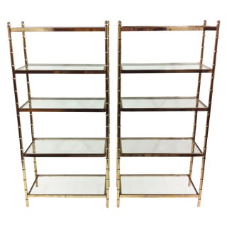 Regency Brass Faux Bamboo Glass Etageres - A Pair