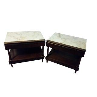 Bert England Vintage Marble Nightstands - A Pair