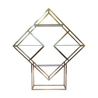 Milo Baughman Style Brass Diamond Etagere