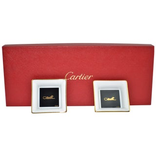 Cartier Limoges Panthere Trinket Dishes - A Pair