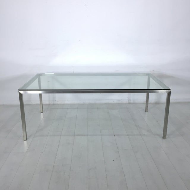 Image of Room & Board Stainless Steel & Glass Portica Desk