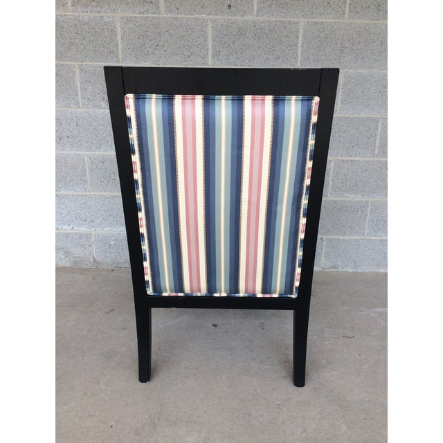 Ethan Allen Dolphin Federal Black/Gold Trim Upholstered Arm Chair - Image 9 of 10