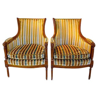 French Country Striped Velvet Arm Chairs - A Pair