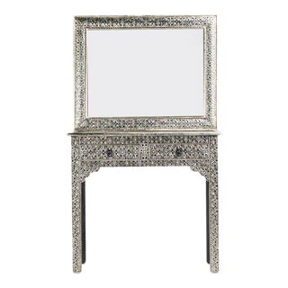 Handmade Moroccan Silver Metal Console with Mirror
