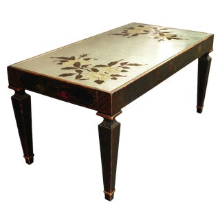 Mid- Century Chinoiserie Coffee Table With Reverse Painted Mirror Top
