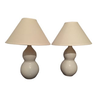 White Double Gourd Lamps - A Pair