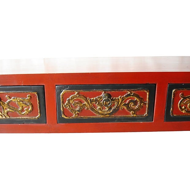 Red Lacquer Wood Coffee Table - Image 2 of 5