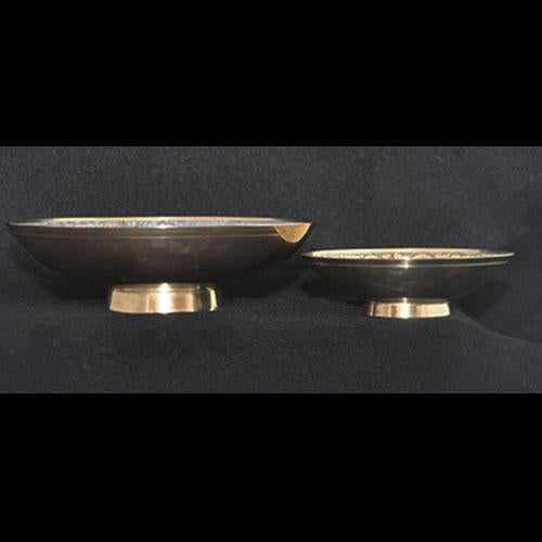 Set of Hand-Etched Enameled Brass Bowls - Image 4 of 6