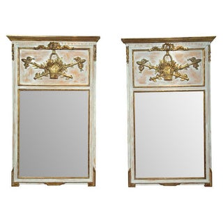 French Painted Trumeau Mirrors - A Pair