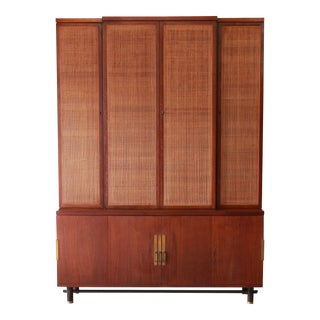 Baker Furniture Mid-Century Woven Front Wall Unit