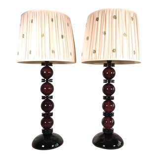 Vintage Amethyst Glass Table Lamps - A Pair