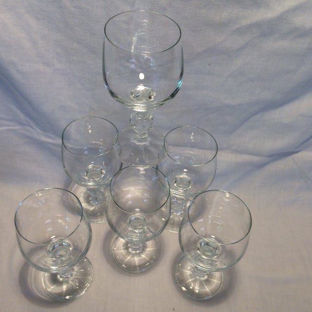 6 Vintage Czech Crystal Wine Glasses By Bohemia