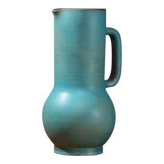 Suzanne Ramie Greenish Blue Madoura Ceramic Pitcher, Vallauris
