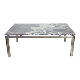 1960's Italian Verde Luana Coffee Table with Chrome Base
