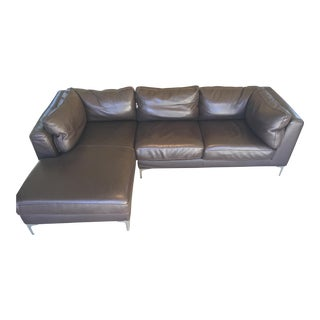 Design Within Reach Chocolate Leather Chaise Sectional