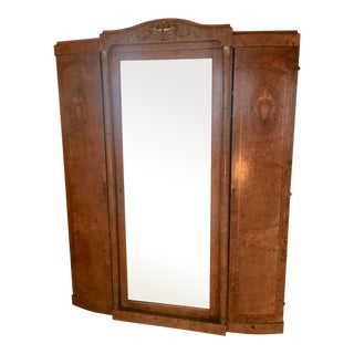 Antique French Burlwood Armoire With Mirror