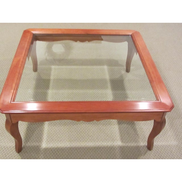 Ethan Allen Country French Coffee Table With Beveled Glass Insert - Image 3 of 4