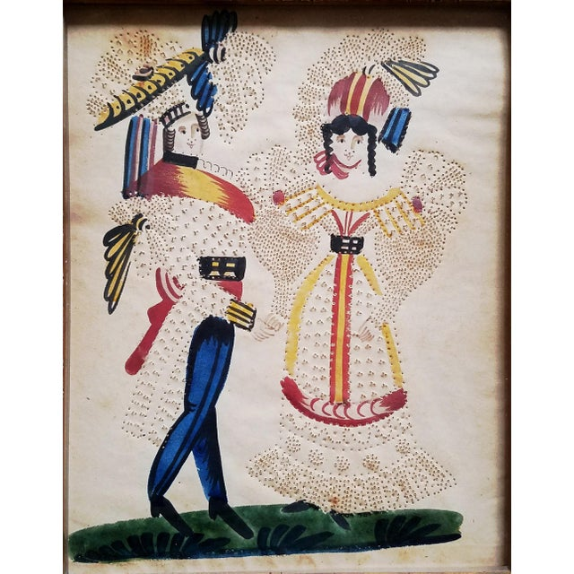 Charming American or Continental Folk Art Pin-prick Painting - Image 2 of 5