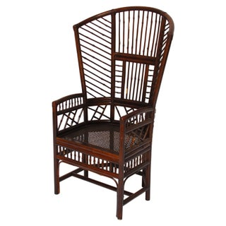 Lacquered Bamboo Arm Chair With Cane Feet