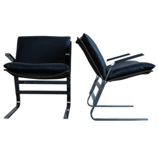 Leather & Chrome Butterfly Lounge Chairs - A Pair
