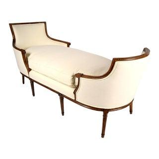 19th C. Walnut Louis XVI Chaise Lounge Duchesse