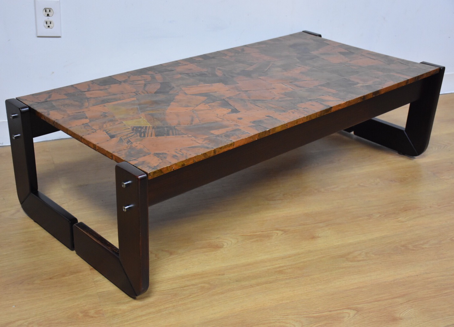 Lovely Lafer Brazilian Rosewood And Copper Coffee Table   Image 2 Of 11