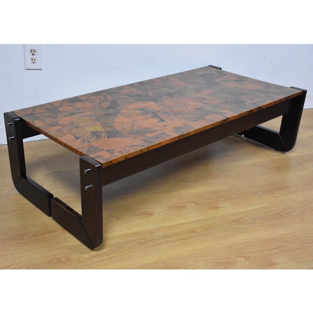 Lafer Brazilian Rosewood And Copper Coffee Table