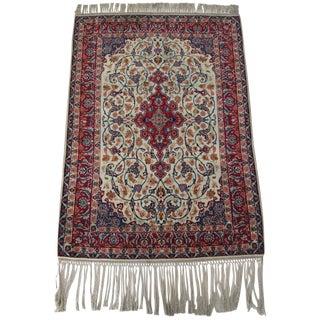 "Vintage Handmade Persian Isphahan Rug - 3'6""x4'7"""