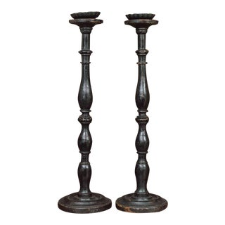 Pair of Large-Scale Ebonized Turned Oak Pricket Sticks, English, circa 1880