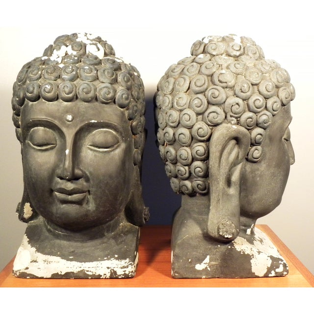 Large Matching Buddha Heads - A Pair - Image 5 of 6