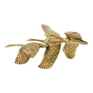 Brass Geese in Flight Shelf Sculpture