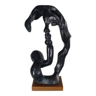 Large Black Face Body Abstract Sculpture on Walnut Base