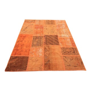 Turkish Vintage Overdyed Patchwork Oushak Rug - 5′7″ × 7′10″
