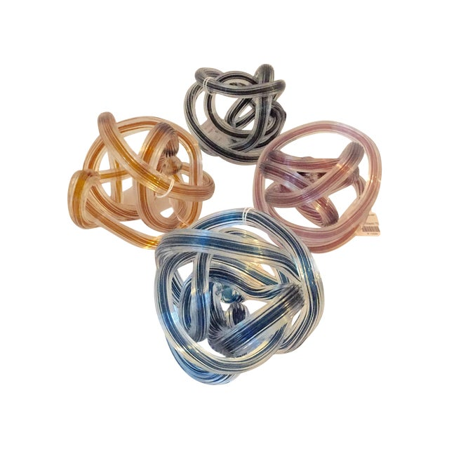 Murano Style Colored Glass Yarn Knots - Set of 4 - Image 1 of 5