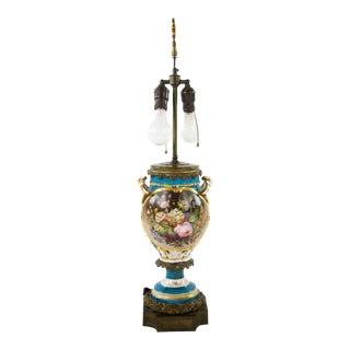 Early 19th C Sevres Blue Celeste Urn Converted Lamp