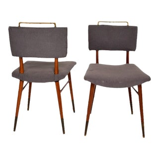 Set of 15 Mid-Century Modern Mahogany & Brass Dining Chairs
