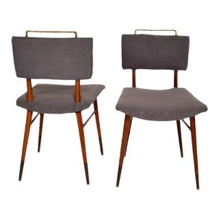 Set of 15 Mid-Century Modern Mahogany & Brass Dining Chairs