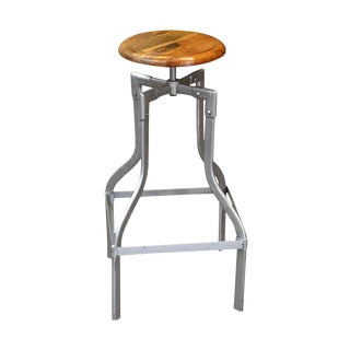 Mid-Century Wooden Seated Stool With Metal Base