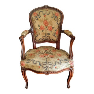 Antique French Louis XV Style Needlepoint Chair