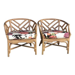 Pair of Henry Link Rattan Chippendale Chairs