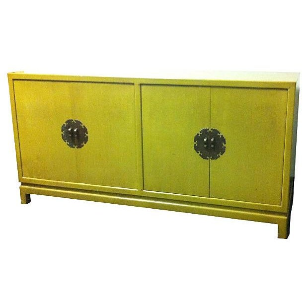 Chartreuse Asian Style Lacquered Credenza - Image 1 of 7