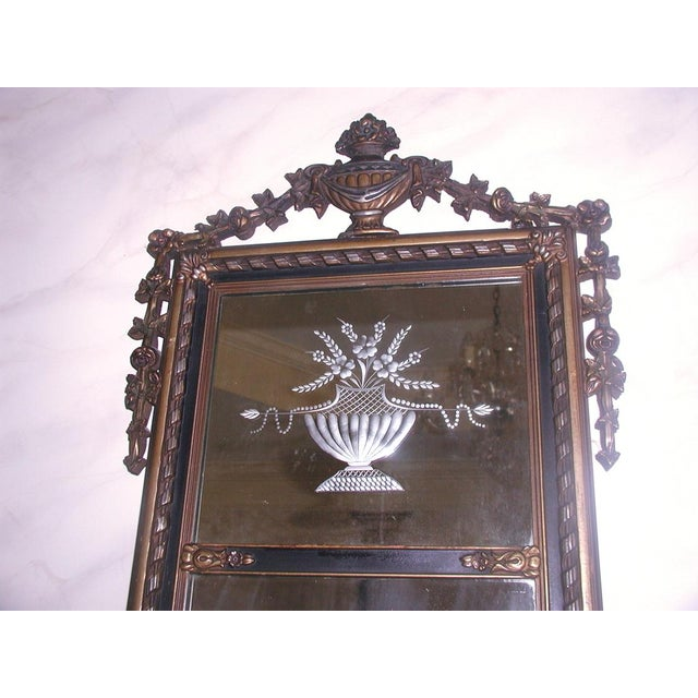 Neoclassical French Gilt Black Etched Mirror - Image 3 of 8