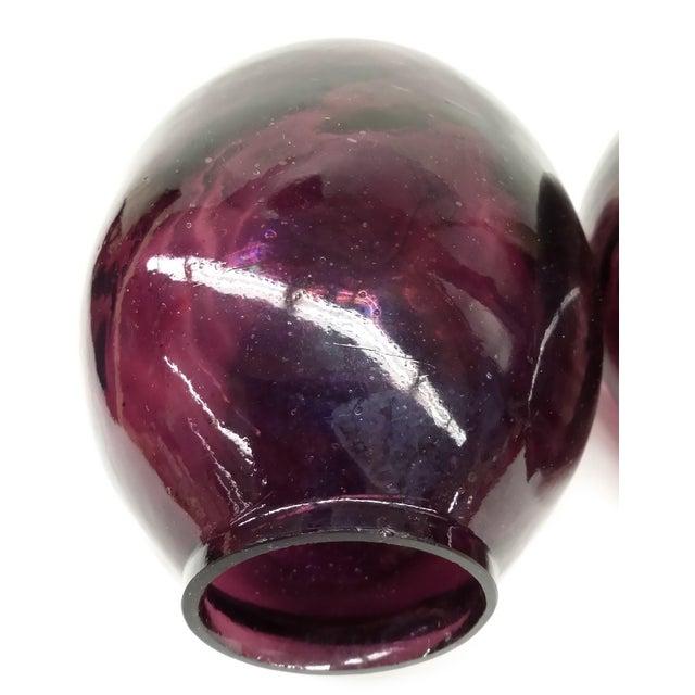 Twin Vintage Amethyst Glass Vases Heather Plum - 2 - Image 7 of 10