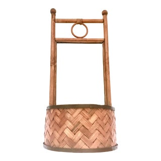 Bamboo Rattan Mirror and Planter