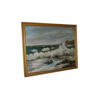 Vintage Ocean Oil Painting by Brenda Collings