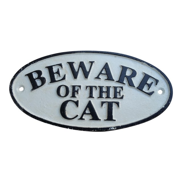 Cast Iron Beware of the Cat Sign - Image 1 of 3