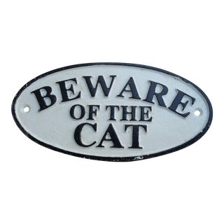 Cast Iron Beware of the Cat Sign