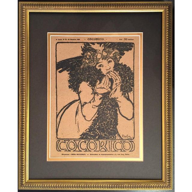Framed 1899 Original Alphonse Mucha Cocorico Cover - Image 4 of 5