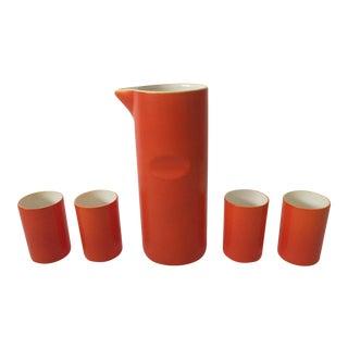 Mid-Century Modern Japan Orange Enamel Ceramic Decanter Carafe & 4 Cups Set